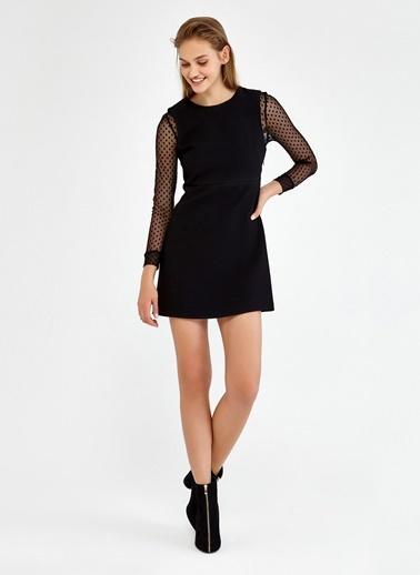 Kolları Puantiyeli Tül Detaylı Mini Elbise-Ipekyol